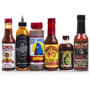 picture of hot sauces that have been featured on Hot Ones