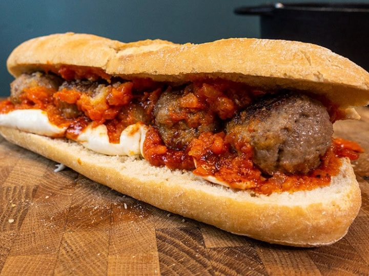 Spicy Meatball Marinara Sub with Bravado Hot Sauce