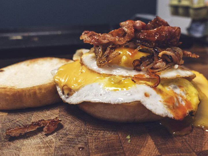 Killer breakfast sandwich with Egg, Bacon, Cheese and Cholula