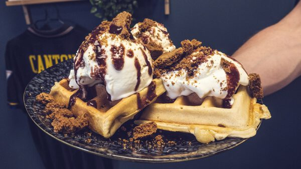 image of homemade waffles and spicy ice cream
